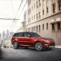 Red colored range rover