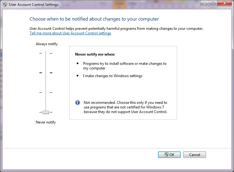 How to disable UAC in Windows 7