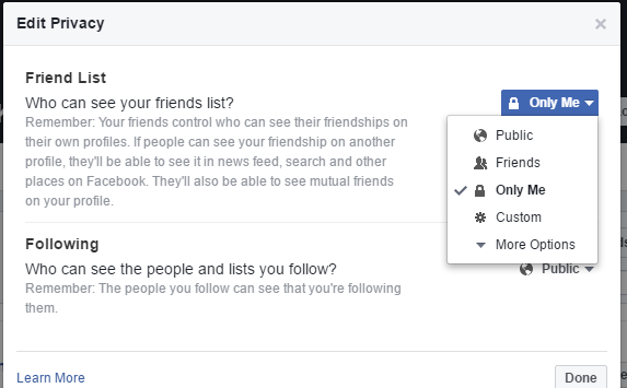 how to delete friends list on facebook mobile