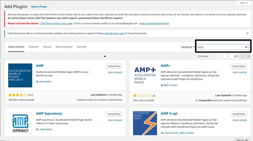 Google amp in wordpress step 2