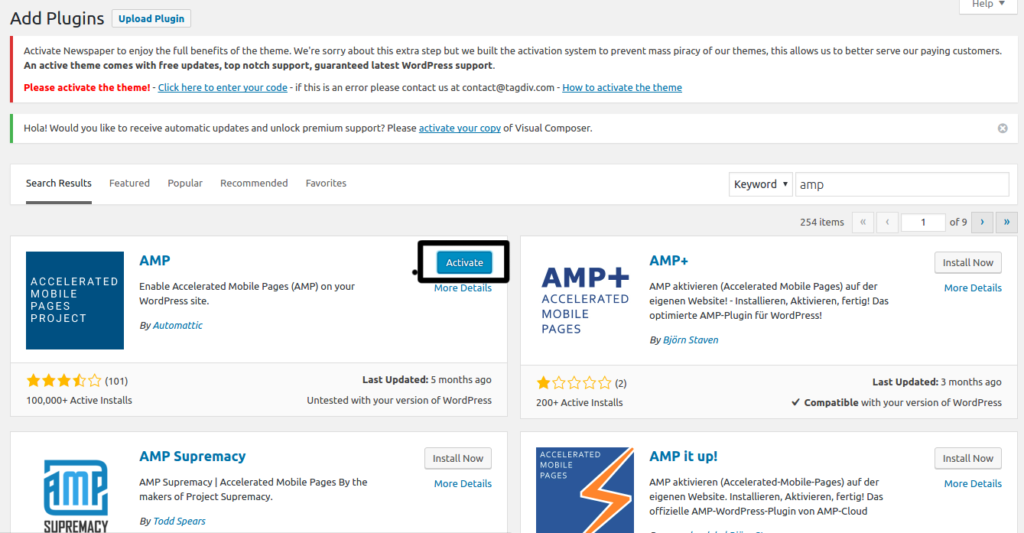 Google amp in wordpress step 4