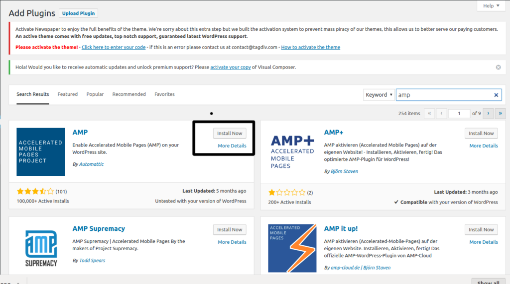 Google amp in wordpress step 3