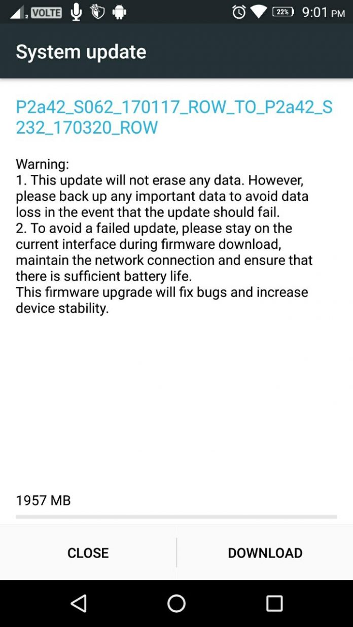 Lenovo P2 android Nougat 7.0 update